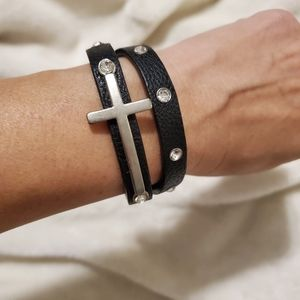 Silver Cross Black Wrap Leather Bracelet